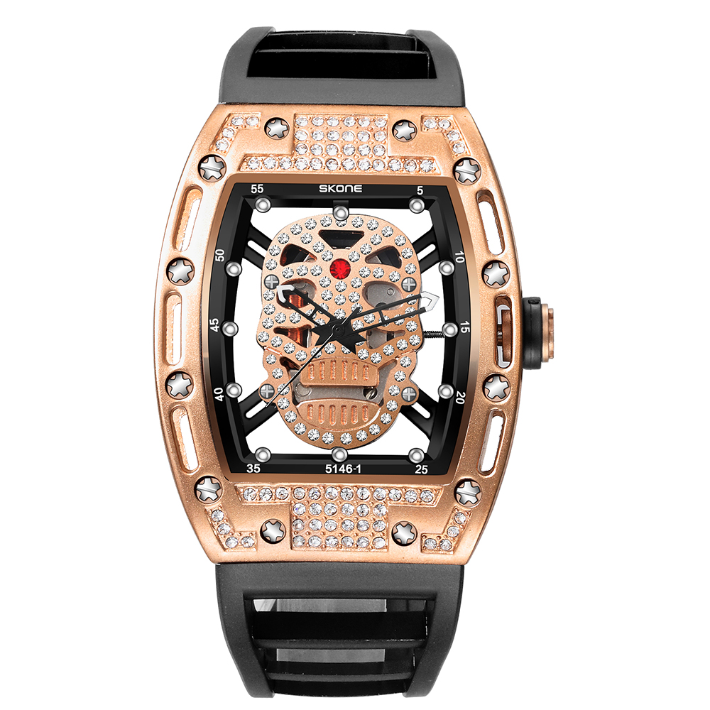 Hot Dropship Unique SKONE Pirate Skeleton Skull Quartz Men Watches Luxury Waterproof Silicone Men Sports Watch Relogio Masculino skone genuine pirate skull style quartz men watches brand men military leather men sports watch waterproof relogio masculino