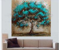 100% Hand Painted Tree Oil Painting On Canvas Abstract Modern Wall Art Unframed
