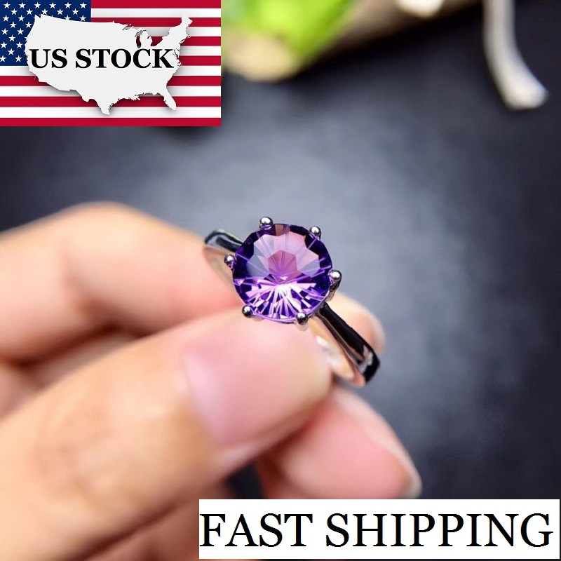US STOCK Uloveido Amethyst Solitaire Ring, 925 Sterling Silver, 8*8mm Certified Purple Gemstone Wedding Jewelry Women FJ201