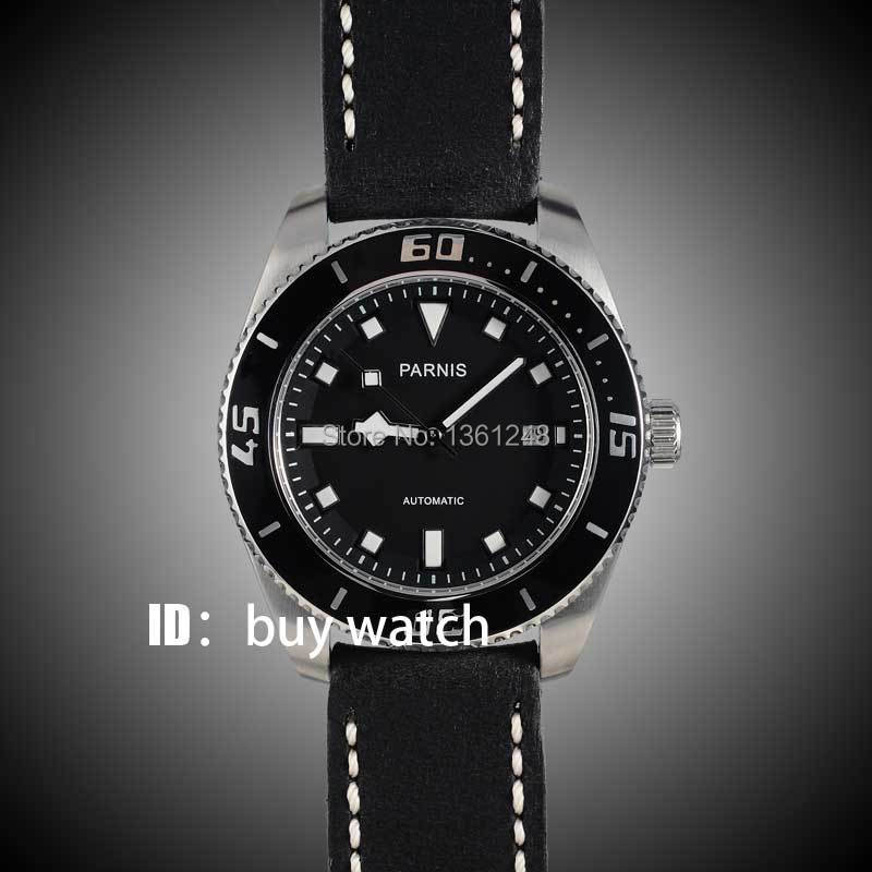 лучшая цена 43mm Parnis black dial sapphire glass miyota Automatic mens Watch 10ATM black bezel 148