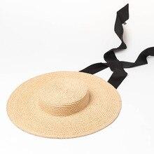 Senhoras Aba Larga Chapéus de Ráfia Chapéus De Palha Velejador Mulheres Da  Praia do Verão Chapéu de Sol com Fita Laço Do Vintage. 927261402ae
