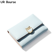 UR BOURSE Fashion Female Cute Multi-card Buckle Womens Leather Short Wallet Coin Purse Ladies Card Holder Large-capacity