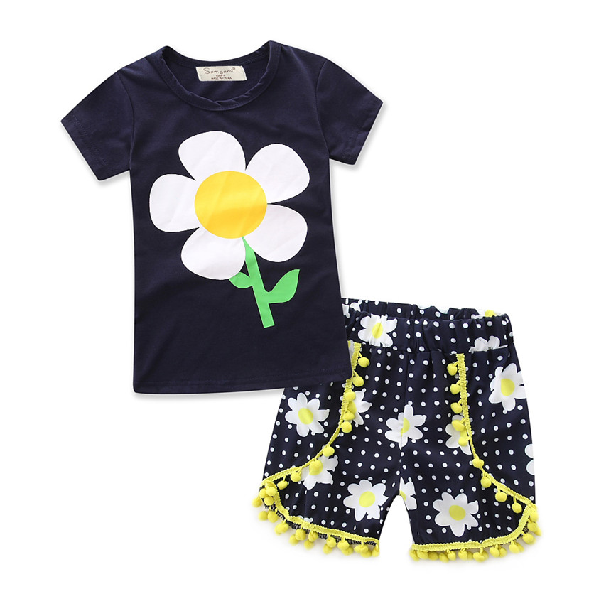 Summer Baby Girls Clothing Set Dark Blue Sunflower Cotton Top+ Floral Print Shorts 2pcs kids Clothes Brand New Arrival girl Suit retail 2016 summer new arrival girls clothing set shirt shorts 2 pcs set girl clothes kids suits 2