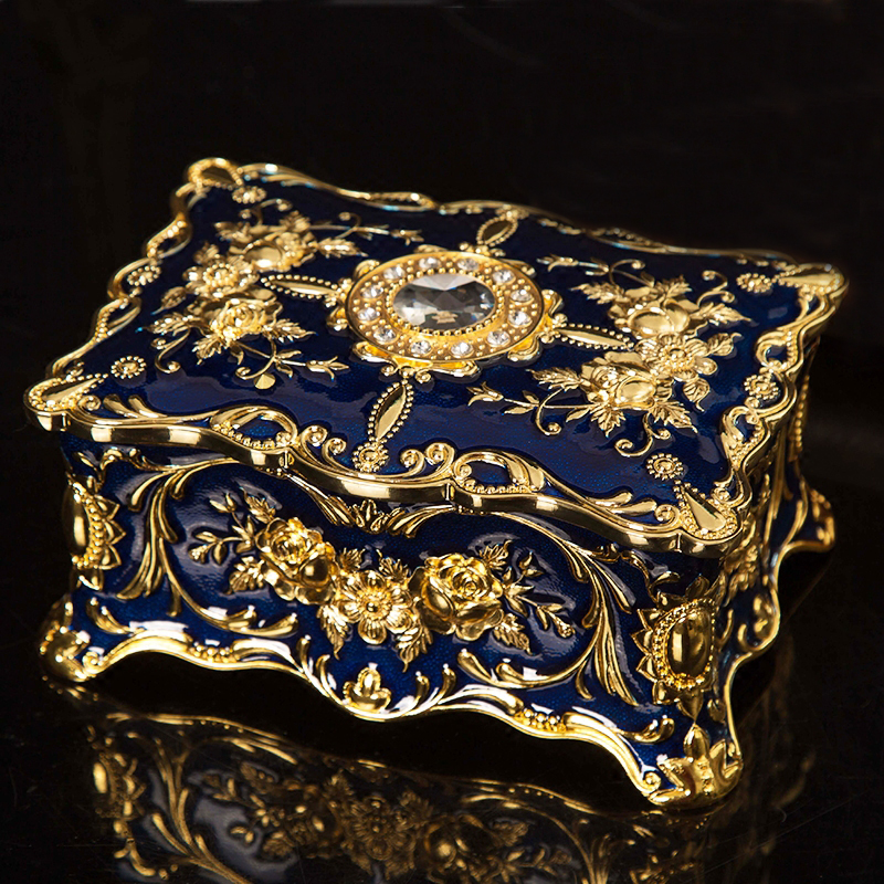 European Rectangle Shape Embossed Gold Plating with Blue Hand Painted and Jeweled Trinket Storage Metal Jewelry Box
