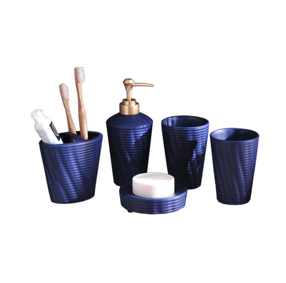 Ensemble distributeur de savon avec plateau | Ensemble d'accessoires de salle de bain en céramique, de style créatif INS Norbic/porte-brosse à dents/porte-savon, ensemble de salle de bain LFB285