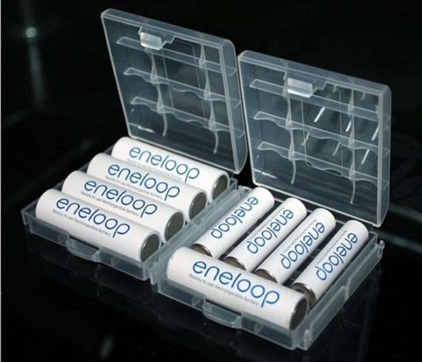 2PCS Portable Hard Plastic Case Holder Storage Box Cover For AA / AAA Battery