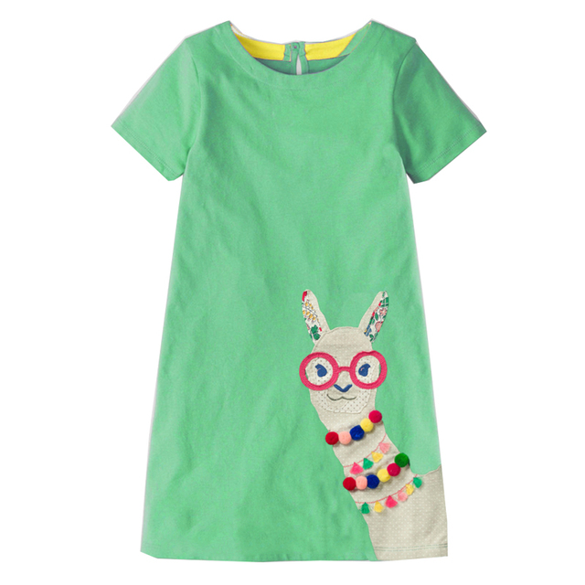 7347e4be26d Baby Girls Dress with Animal Applique 2019 Summer Princess Dress for Girls  Clothes Cotton Kids Costumes for Children Dress 2-7Y