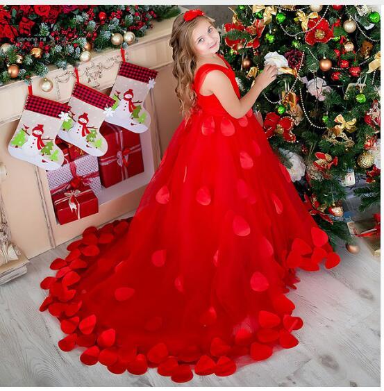 Hot Sale Red Tulle Spaghetti Straps Flower Girl Dresses 2018 Appliques Zipper Back Ball Gown Communion Dresses