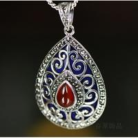 S925 Sterling Silver Shaolan Handmade Natural Red Pendant