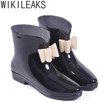 Wikileaks Glitter Cute Round Toe Soft Walking Rainboots Ankle Rain Boots Shoes Stylish Short Tube Adult