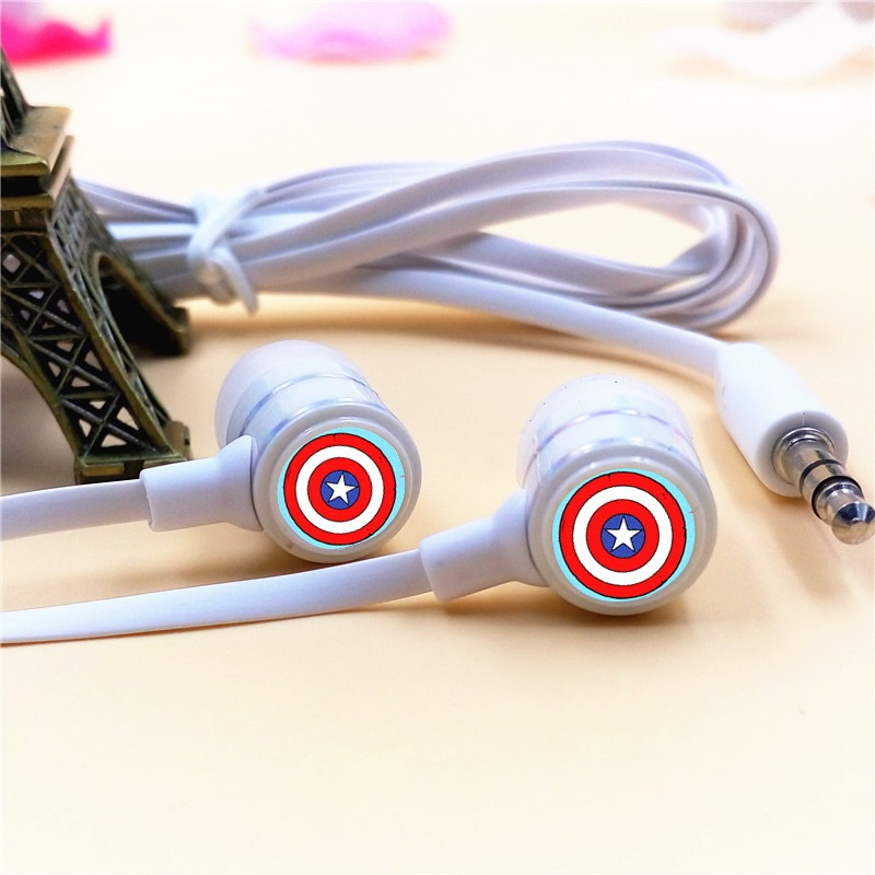 Anime Captain America Cartoon In-ear Earphones 3.5mm Stereo Earbuds Phone Music Game Headset for Iphone Samsung MP3 MP4 Player