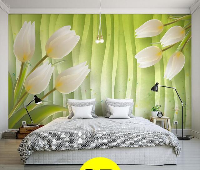 Neueste 3d green hintergrund, weiße lilien große wandbilder ...
