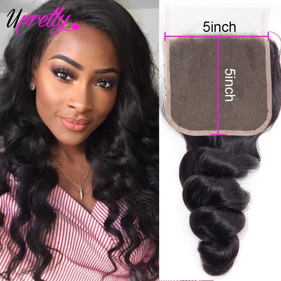 Волосы Upretty 5x5 на сетке, закрывающие предварительно выщипанные бразильские свободные волнистые волосы без повреждений средней части, швейц...