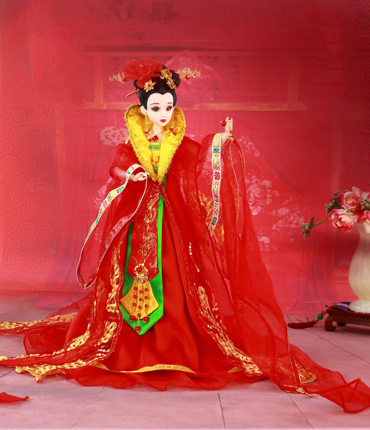 12 Handcrafted Collectible Chinese Dolls With Stand Vintage Tang Dynasty Bride Dolls BJD Doll Toys Wedding Gift For Girl 35cm handmade chinese dolls collectible ancient costume spring girl dolls with stand vintage season series bjd doll toys