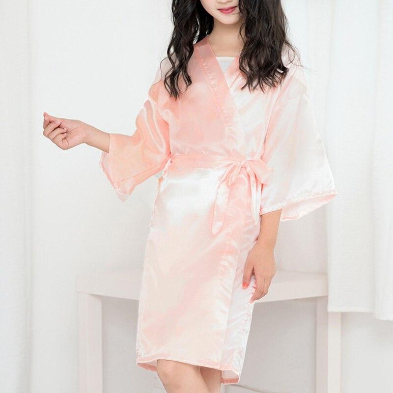 Summer Girls Bath Robe for Kids Robes New Baby Girls Silk Satin Toddler Pajamas Robes Infant Bathrobe Sleepwear Children Clothes(China)
