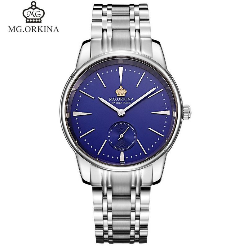ФОТО MG.Orkina Casual Original Reloj Hombre Men's Sapphire Quartz Watches Wristwatch Gift Box Free Ship