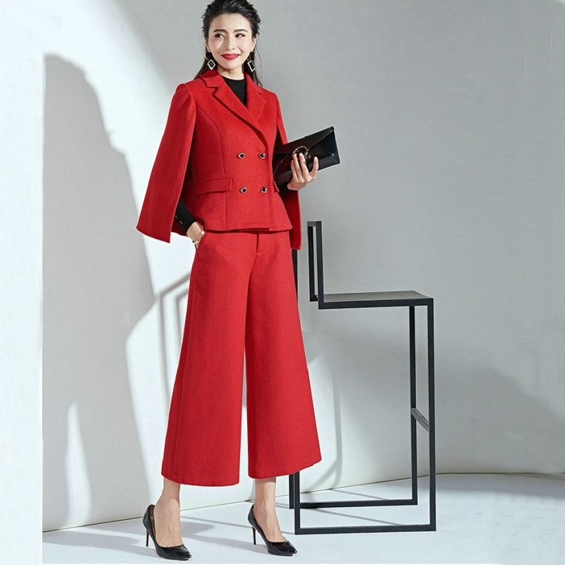 Leg-Pants Wool-Suit Women Two-Piece-Set Nine Winter Ladys New Autumn Red Wide Fashion