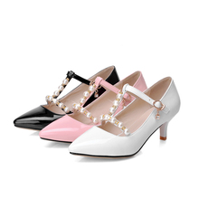 Brand New Sexy Women Glossy Pumps Black White Pink Ladies Formal Beading Shoes Med Heels AHM8285 Plus Big Size 42