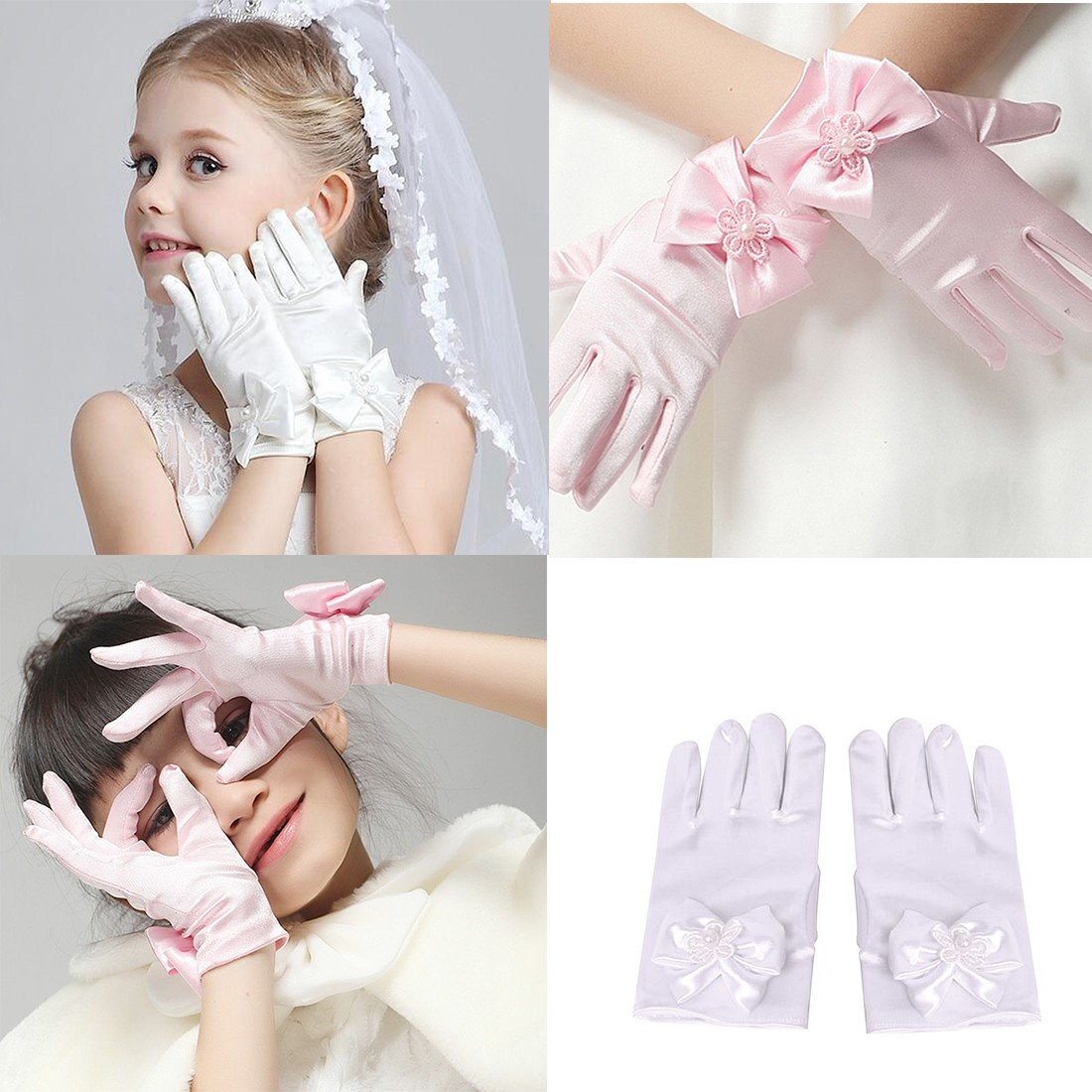 Top Sell Ovely Flower Girl Party Bowknot Female Fingerless Gloves Mittens Women Ceremony Communion Accessories Bow Princess Glov