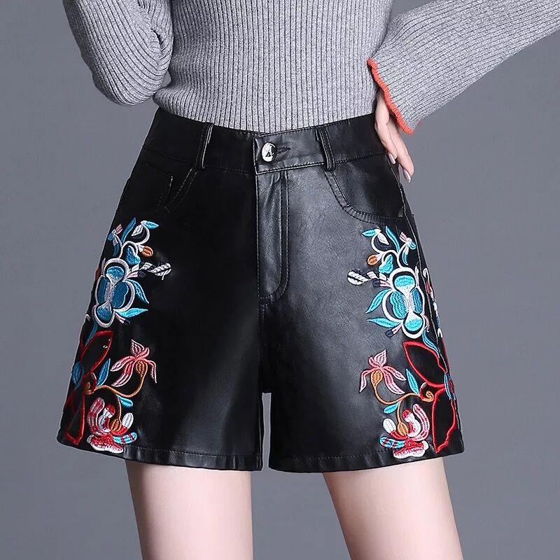 Embroidered Wide Leg Short Pants Women High Waist Loose Women