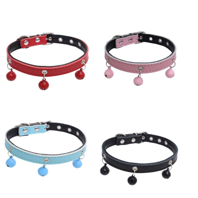Hot Sale Genuine Leather Pet Products Pets Bell Ringing Leash Large Cute Pet Dogs Multi-function Collar