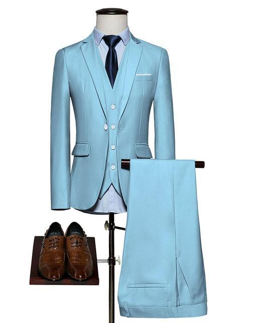 2017 Latest Coat Pant Designs Light Blue Red White Men Suit Groom ...
