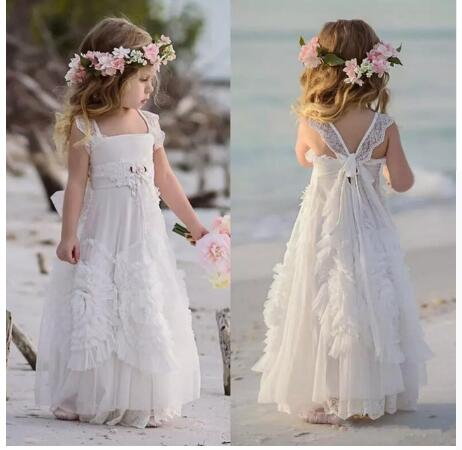 White Flower Girl Dresses For Weddings Ruffled Kids Pageant Gowns Lace Girls Birthday Dress Pageant Party Gown white casual round neck ruffled dress