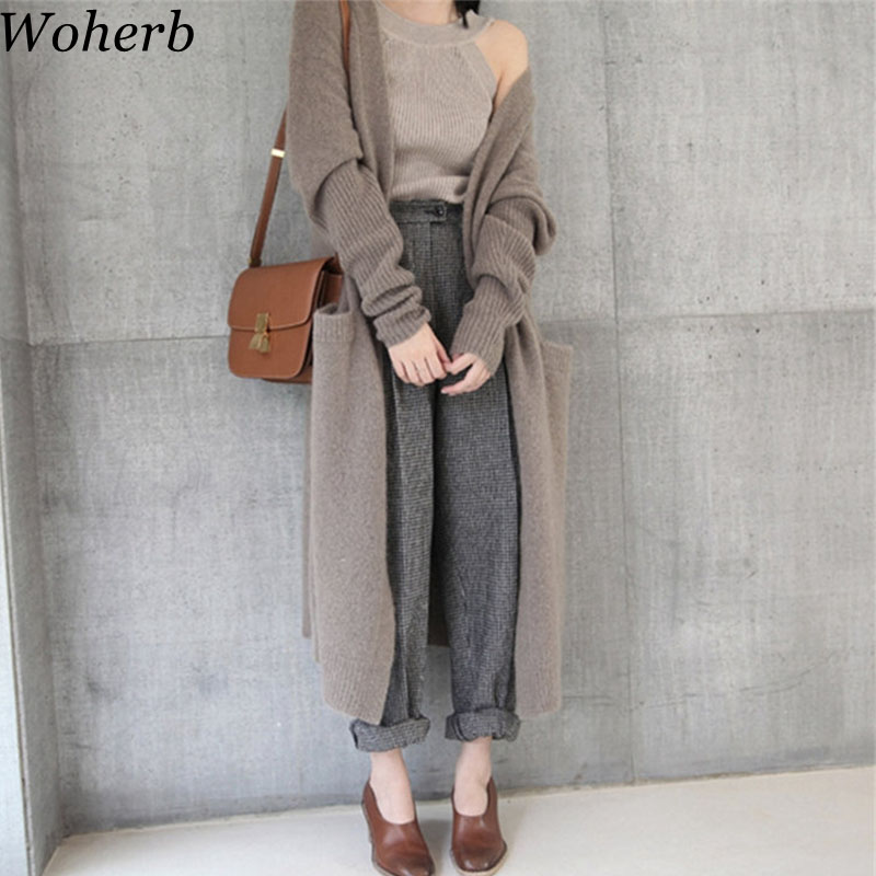 Woherb 2020 Korean Streetwear Knitted Cardigan Women Loose Long Winter Sweater Coat Loose Casual Cardigans Feminino 20337