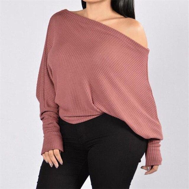 fbbd254f965d Мода Для женщин одежда на одно плечо с длинными рукавами Свитеры для женщин  пуловер Solid Повседневная