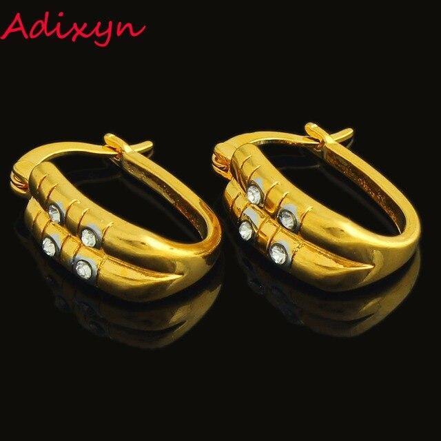 US $2.98 15% OFF Äthiopischen Gold Ohrringe für FrauenGlrls Gold Farbe Kristall AfrikanischenArabischKeniaIndienNahen Osten Hoop Ohrring