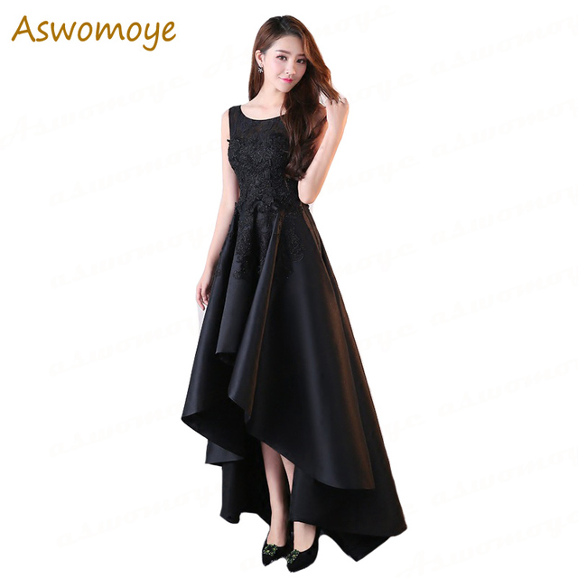 Aswomoye Elegant Evening Dress 2018 New Haute Couture Appliques Short Front  Long Back Party Dress O-neck robe de soiree 27f483ce4c18