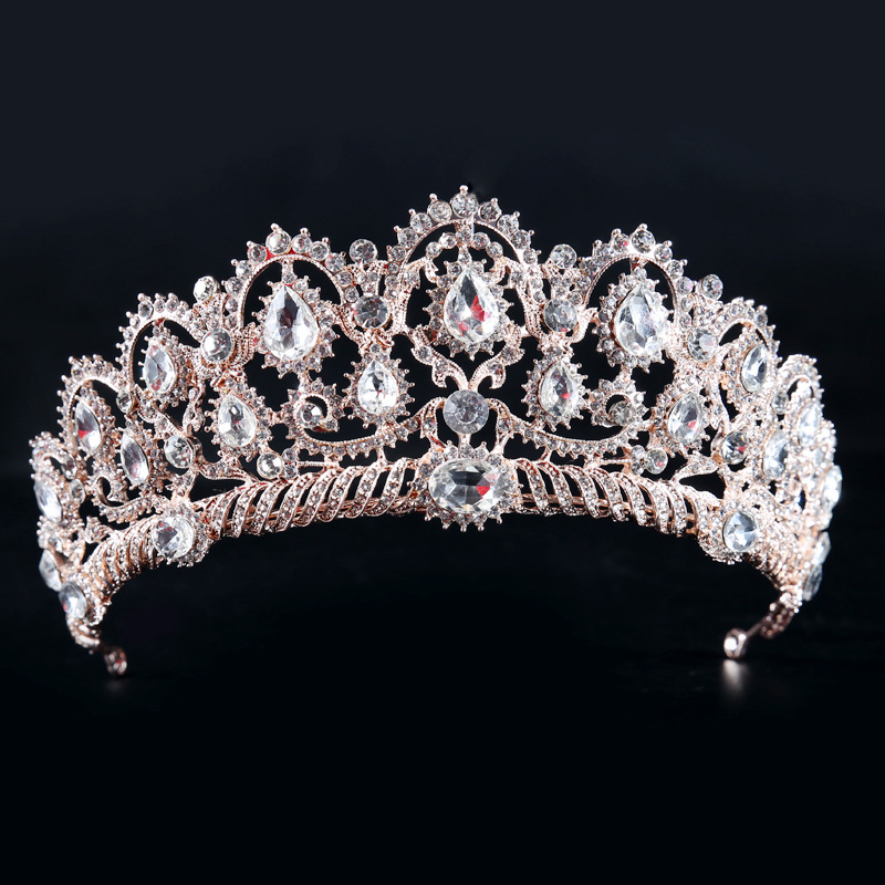 Luxury Crystal Bridal Hairband Crown Tiaras Rose Gold/Gold/Silver/White Bride Wedding Headpieces Hair Accessories Pageant Crown 00009 red gold bride wedding hair tiaras ancient chinese empress hair piece