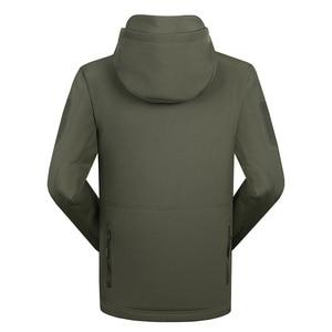 Image 4 - Men autumn winter jacket coat soft shell shark skin clothes, waterproof military clothing camouflage jacket