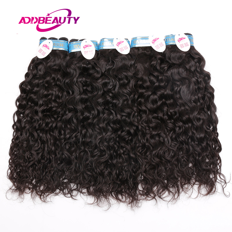 Addbeauty 10Pcs Lot Water Wave Peruvian 100% Human Virgin Hair Extension Bundle Weave Natural Can Be Colored 613 Free Shipping