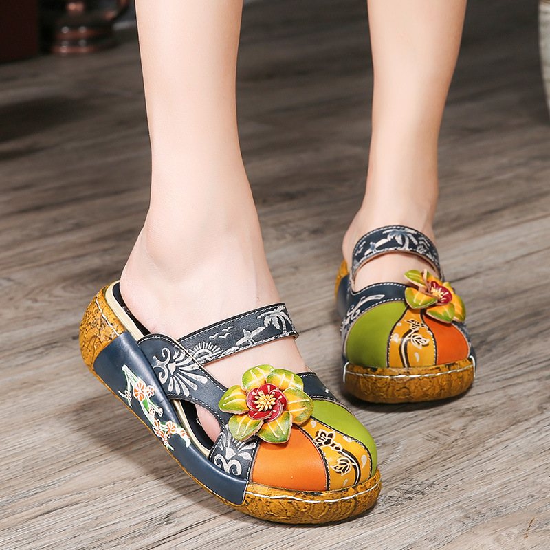 Flower Slippers Genuine Leather Shoes Handmade Slides Flip Flop On The Platform Clogs For Women Woman Slippers Plus Size shoulder cut plus size flower blouse