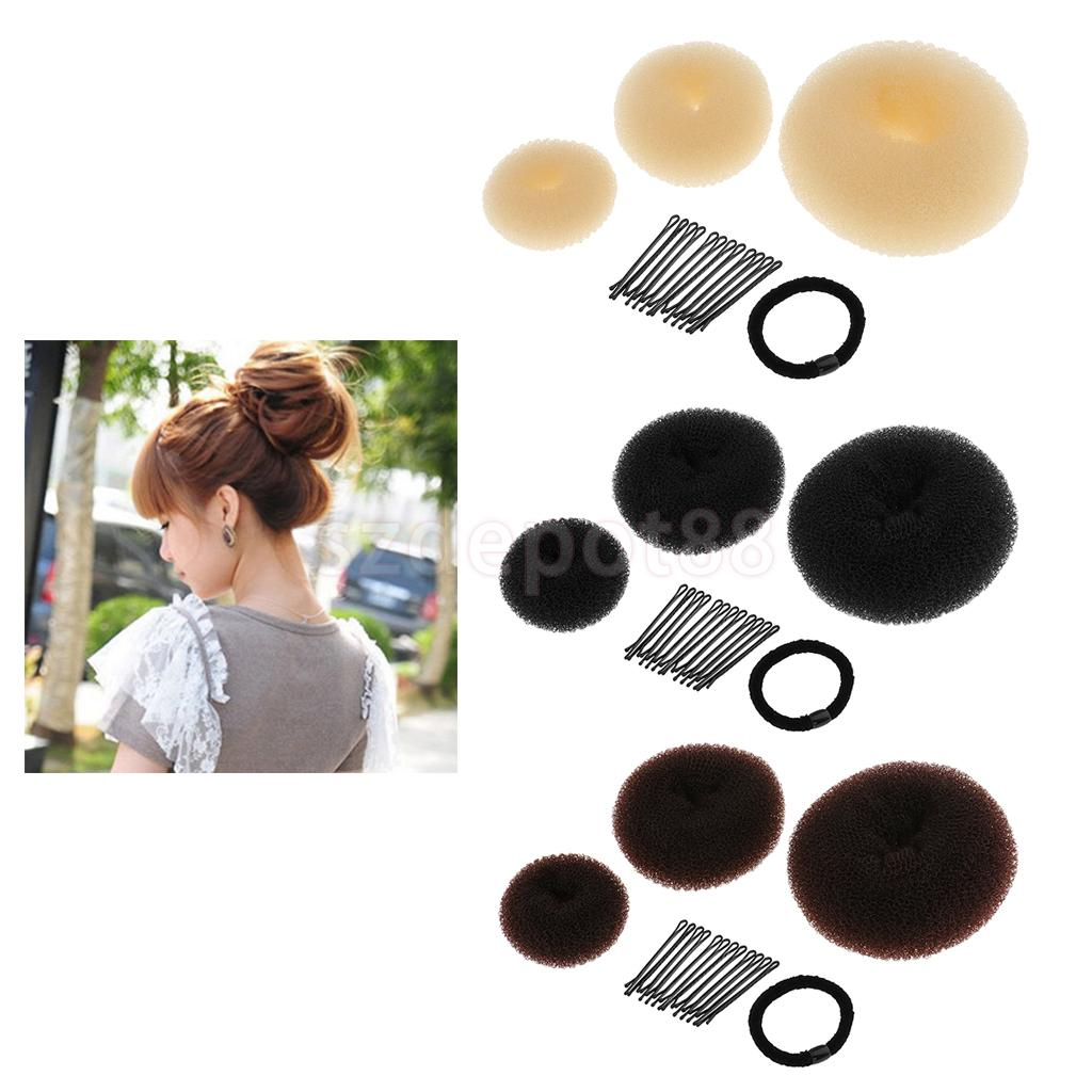 3 Colors Hair Styling Donut Bun Maker Ring Hair Clips Hairpins Accessories