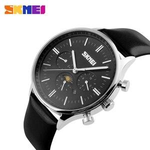 Image 5 - SKMEI Relojes de pulsera para hombre, de cuarzo, de negocios, resistente al agua hasta 30M, informal, de cuero, Masculino, 9117