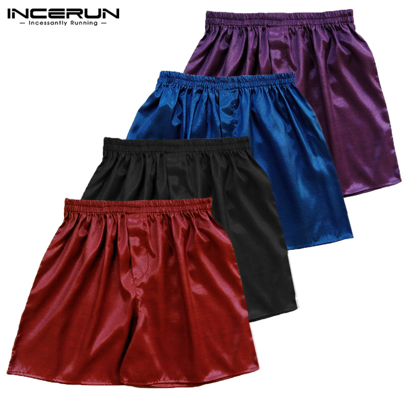 INCERUN 2019 Hot Sale Silk Satin Men's Boxers Soft Underwear Comfortable Sexy Solid Color Boxers Shorts Men Sleepwear S-5XL