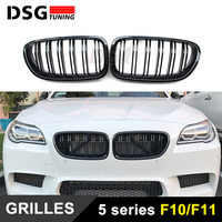 F10 M5 2 Fin Gloss Black Front Kidney Grill Grille Mesh F10 Grid For BMW 5 Series 520i 525i 528i 530i 535i 2014 2015 2016