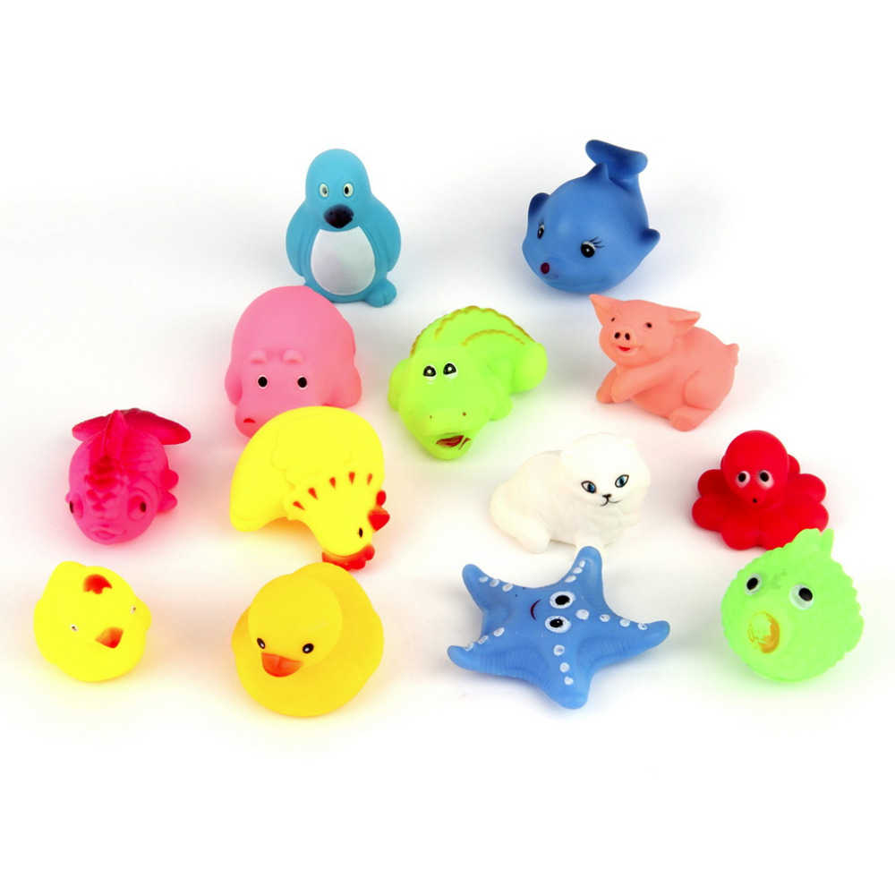 Hot! 13pcs/set Lovely Mixed Animals Soft Rubber Float Squeeze Sound Squeaky Bathing Play Toy For Baby New Sale