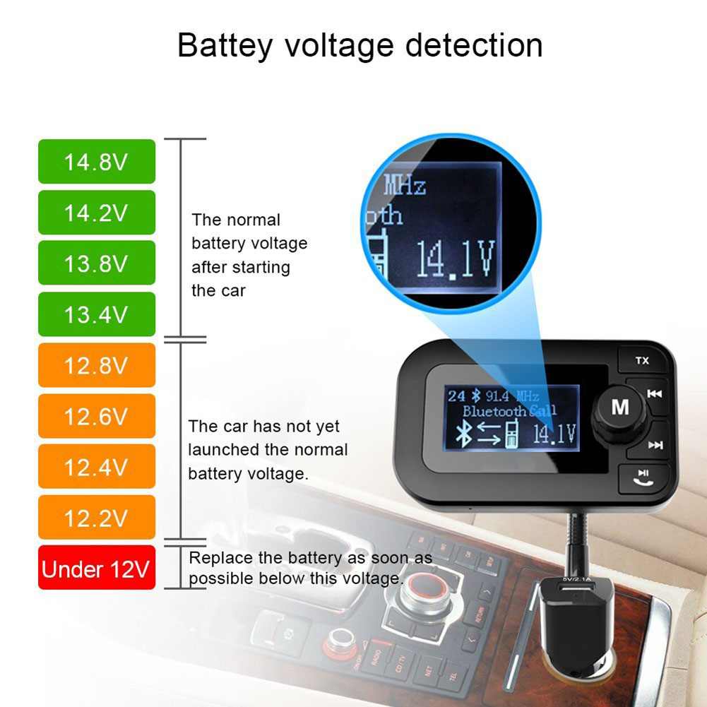 Car Wireless Bluetooth Handsfree FM Transmitter MP3 Player Radio Audio Adapter With Display Dual USB Car Charger CSL2017