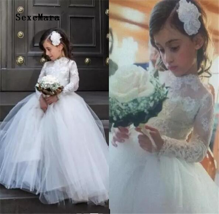 Princess 2018 White Flower Girl Wedding Dresses with Sheer Lace Long Sleeve High Neck Pageant Gowns White First Communion Dress недорго, оригинальная цена