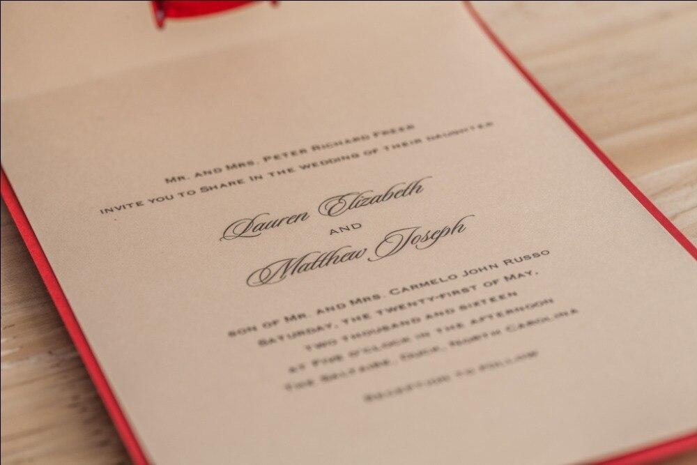 Chinese Red Laser Cut Lace Wedding invitations Handmade Ribbon ...