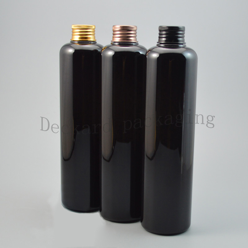 20X330ml Aluminum Cap Screw Top Cover Square Black Bottles Toilet Containers Refillable PET Plastic Empty Bottle for Skin Care