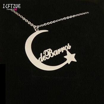 0c8ff2ec00ca Nombre personalizado Collar de plata de oro rosa de Luna estrella colgante  gargantilla collar de las mujeres hombres regalo personalizado de dama de  honor ...