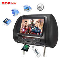 Universal 7 polegada carro encosto de cabeça mp4 monitor/multi media player/assento para trás mp4/usb sd mp3 mp5 fm built-in alto-falantes