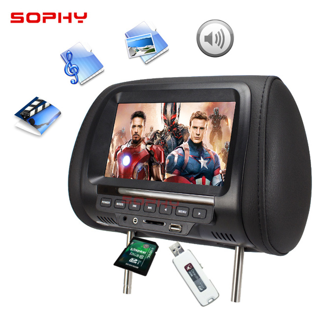 Universal 7 pulgadas reposacabezas del coche MP4 Monitor/Multi media Player/asiento MP4/USB SD MP3 MP5 FM altavoces incorporados