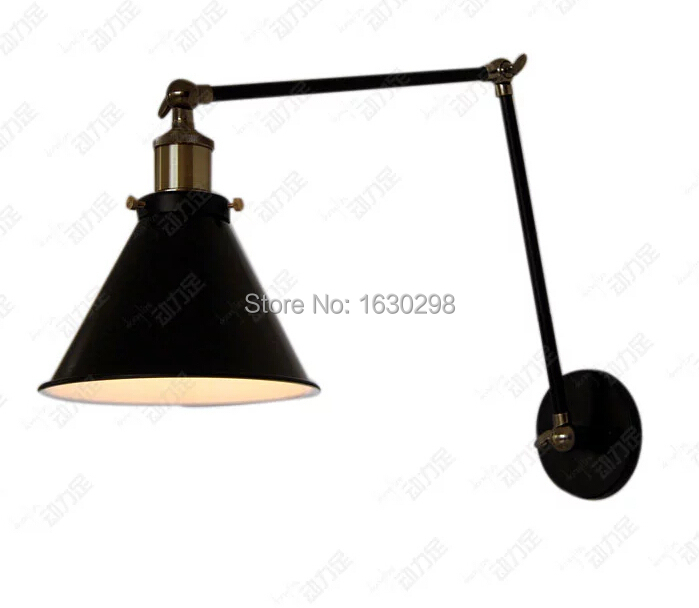 Vintage Swing Arm Apliques Pared Sconce Industrial Loft Wall Lighting Black Lampshade Led Wall Lamps Fixture E27 Bedroom Modern 67050 hanging on the support arm swing arm control arms factory swing