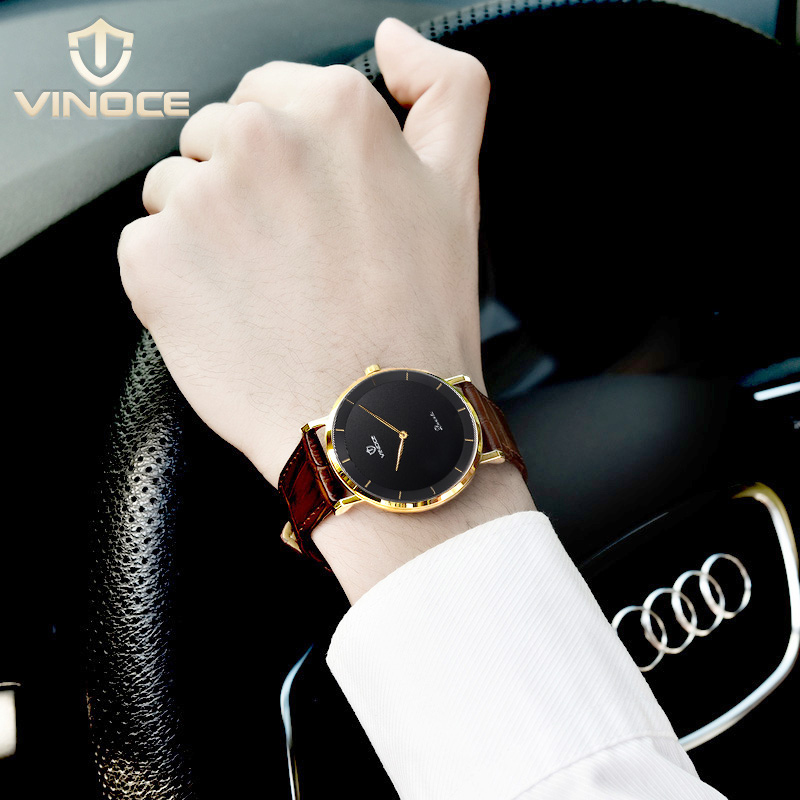 VINOCE 7MM Ultra Thin Watches Mens Business Fashion Genuine Leather Men Quartz Watch 2019 Relogio Masculino #V633263