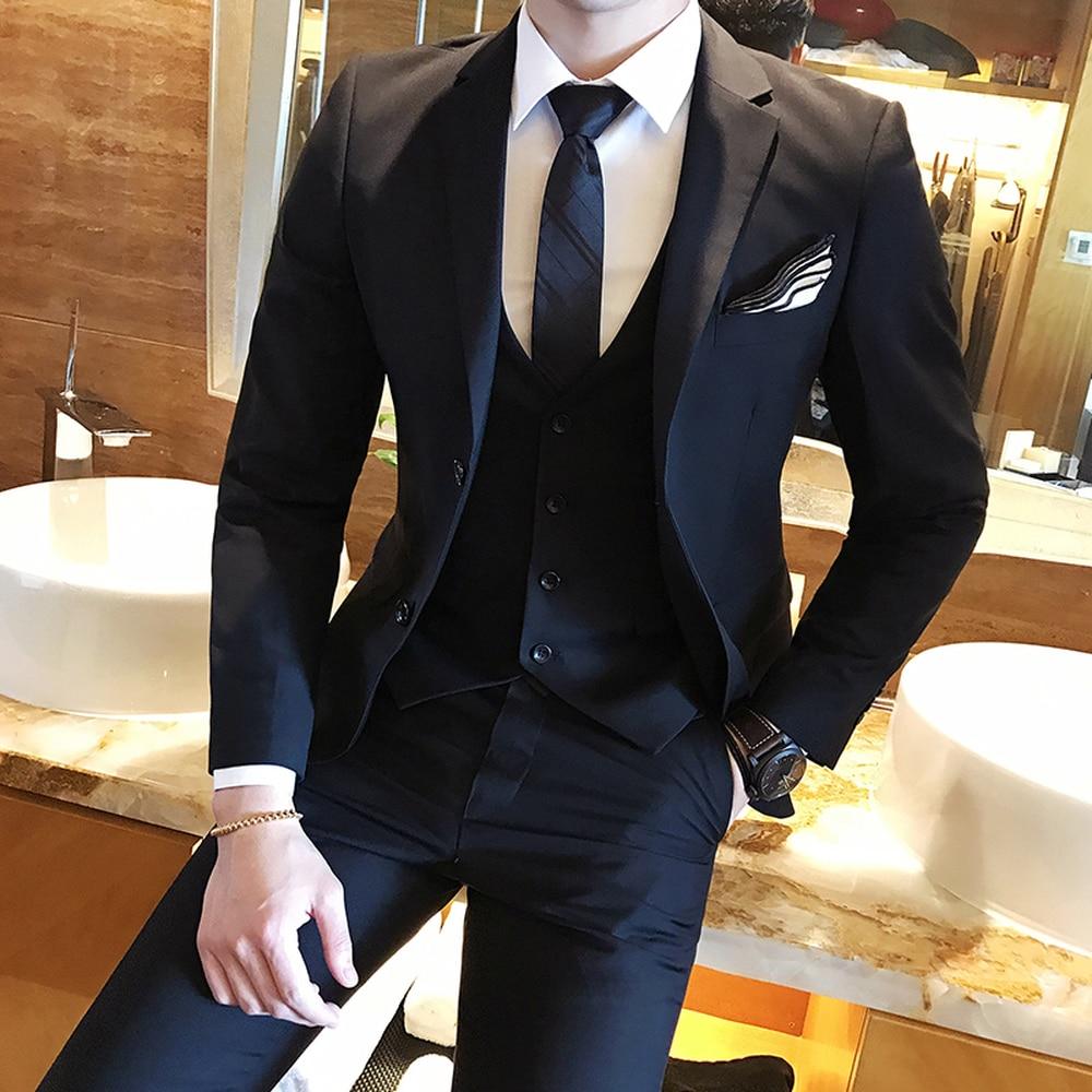 Couleur unie slim fit mâle 3 pièces costumes robe de mariée hommes affaires jolie pochette mariage bal dîner costumes Groomsman porter smoking - 3